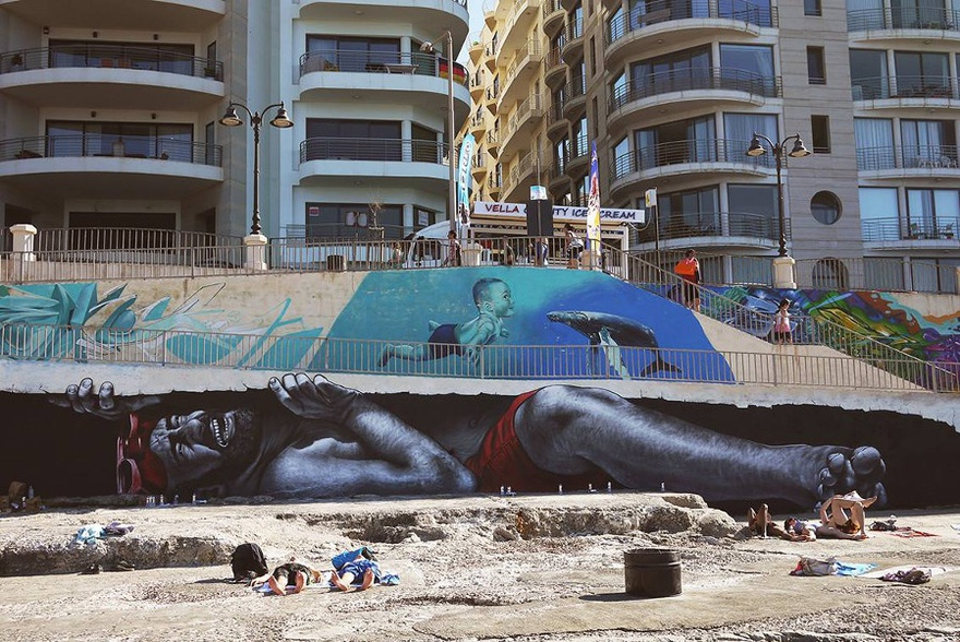 MTO, The Mediterranean Door, 2014. Qui Si Sana, Downtown Sliema, Malta. Mural created for Sliema Street Art Festival 2014.