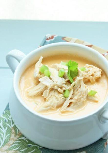 Keto Buffalo Chicken Soup in a White Bowl with Celery