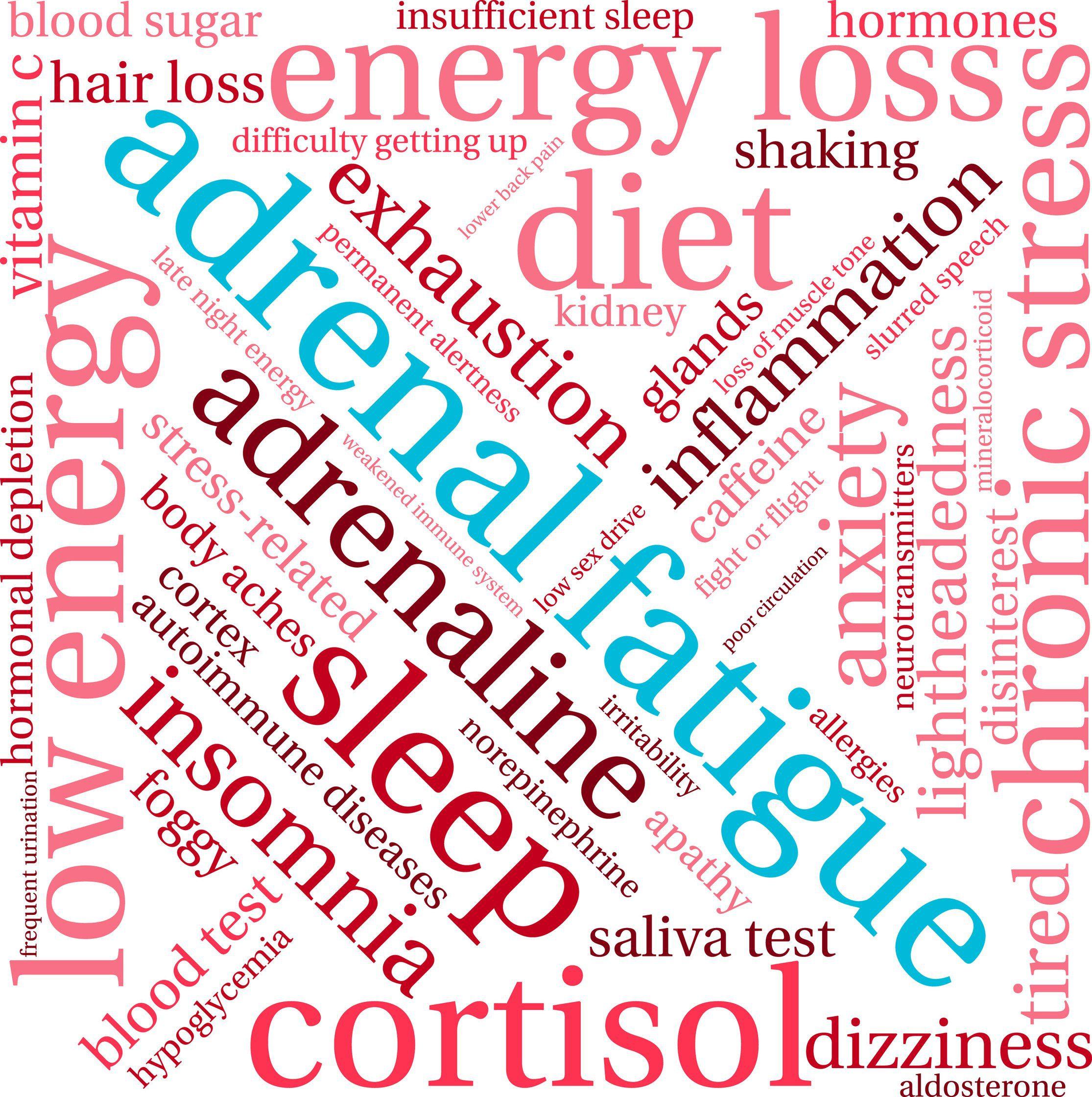 word cloud focused on adrenal fatigue