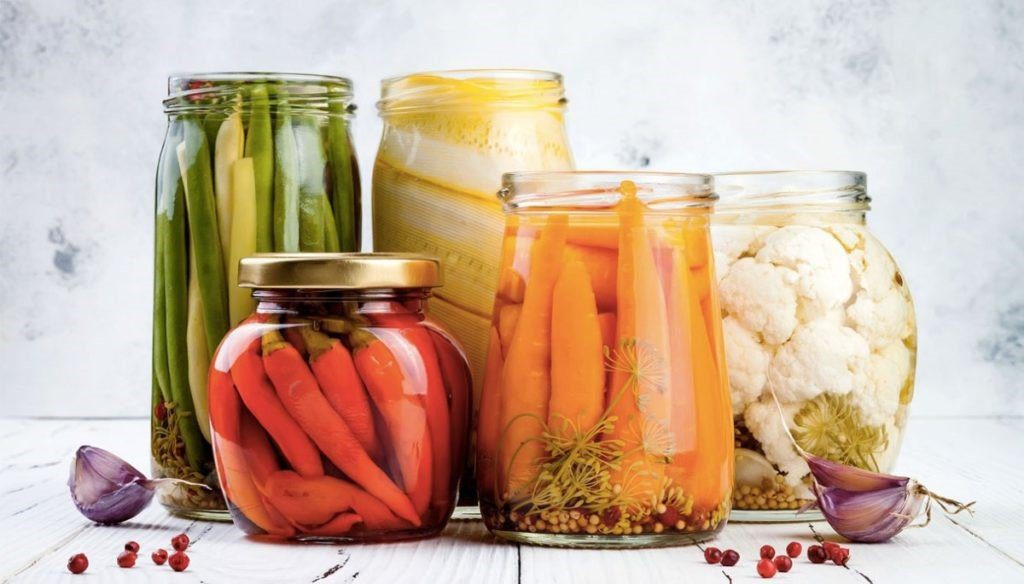 photo of jars of 5 types of vegetables