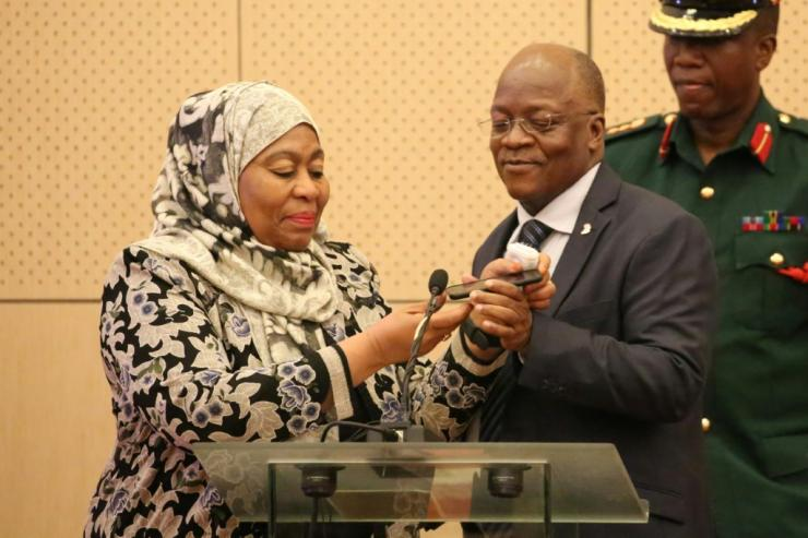 Tanzania's new president Samia Hassan Suluhu is pictured in 2019 with her late predecessor John Magufuli
