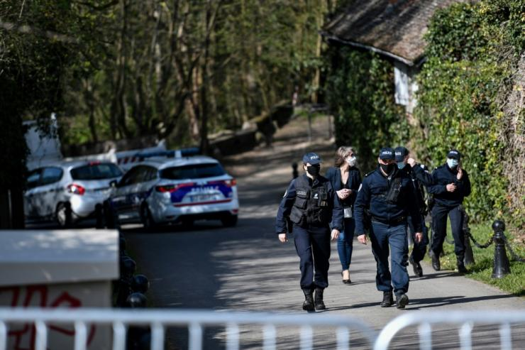 Police cordoned off the area around the Tapie home