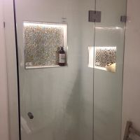 Shower recess niche with LED lights installed in the ...