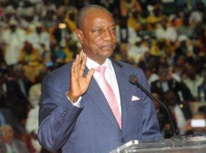 Le Président en excercice de l'Union africaine, le Président Alpha Condé de la Guinée-Conakry