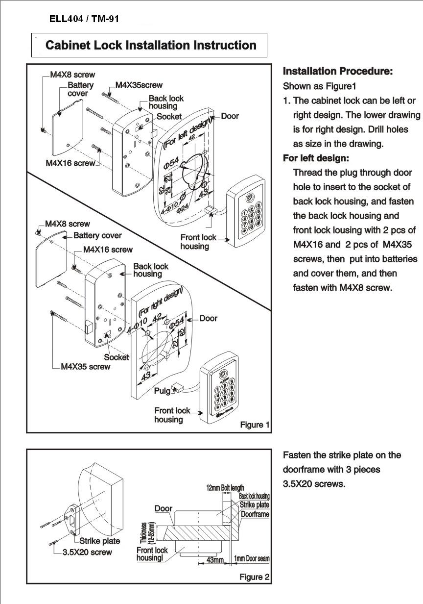 File Cabinet Lock Installation Instructions