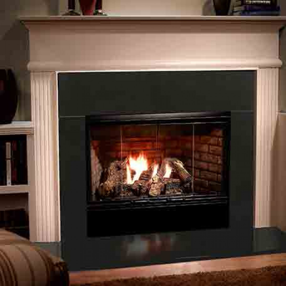 Majestic Reveal Open Hearth BVent Gas Fireplace radiant unit with IntelliFire