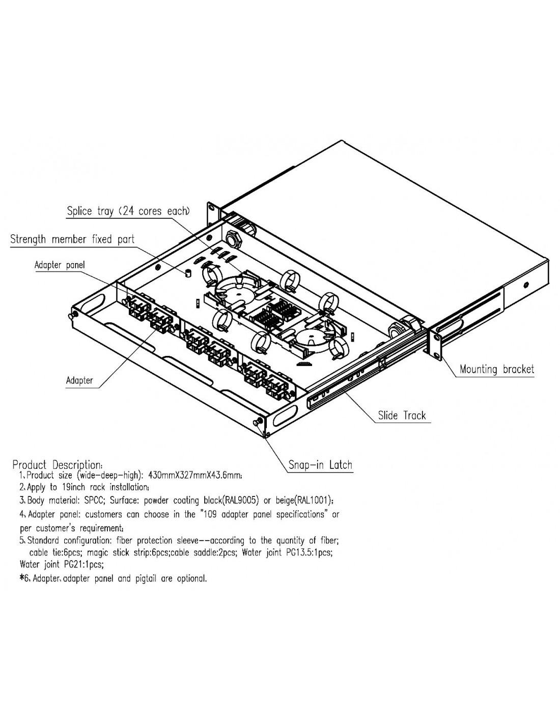 Optical Distribution Panel Odf For 12 Sc Duplex Or Lc Quad