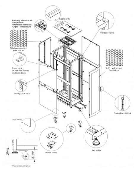 Server rack cabinet 600x1000 mm, black, 80% perforation