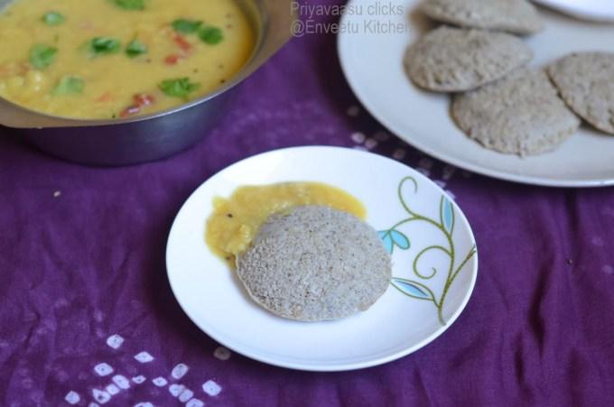 green Moong idly with sambar