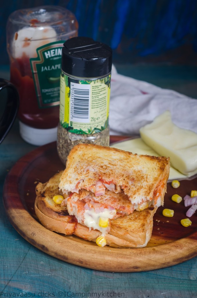 Cheese oozing sandwich