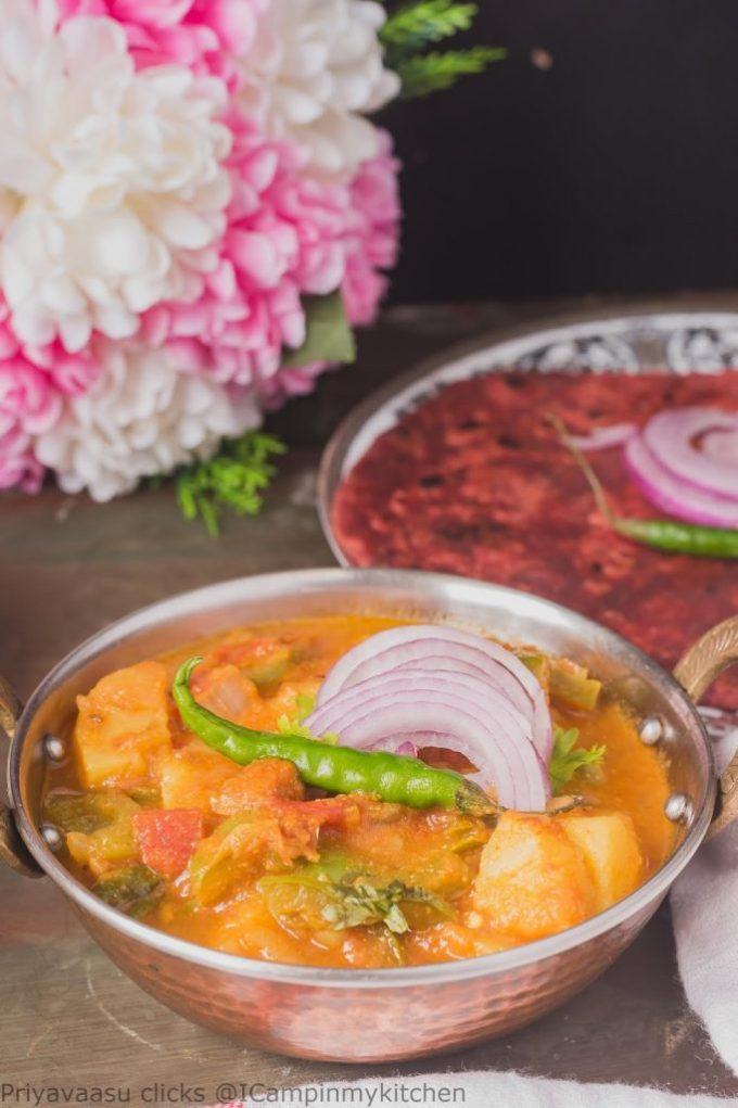 Potato Gravy, Aloo capsicum,Potato  side dish