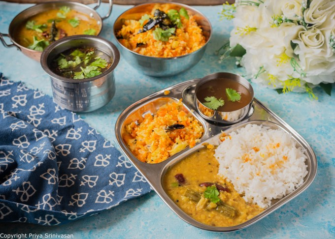 Lunch thali with dal, rice and subzi