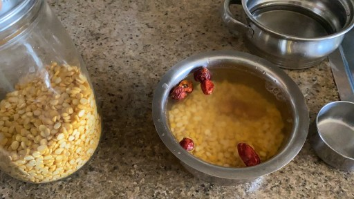 Soaking chana dal