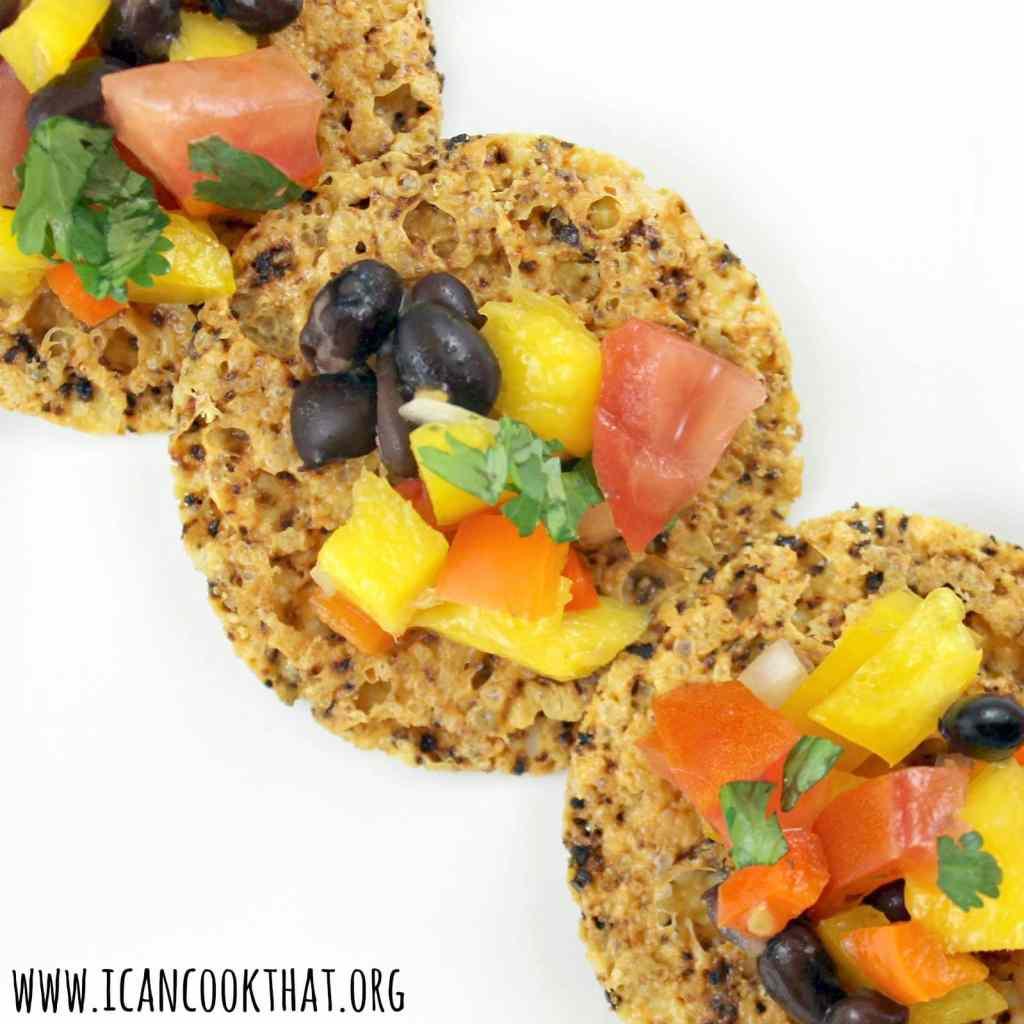Black Bean Mango Salsa on Jalapeño Parmesan Crisps