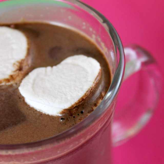 Homemade Hot Chocolate with Marshmallow Hearts