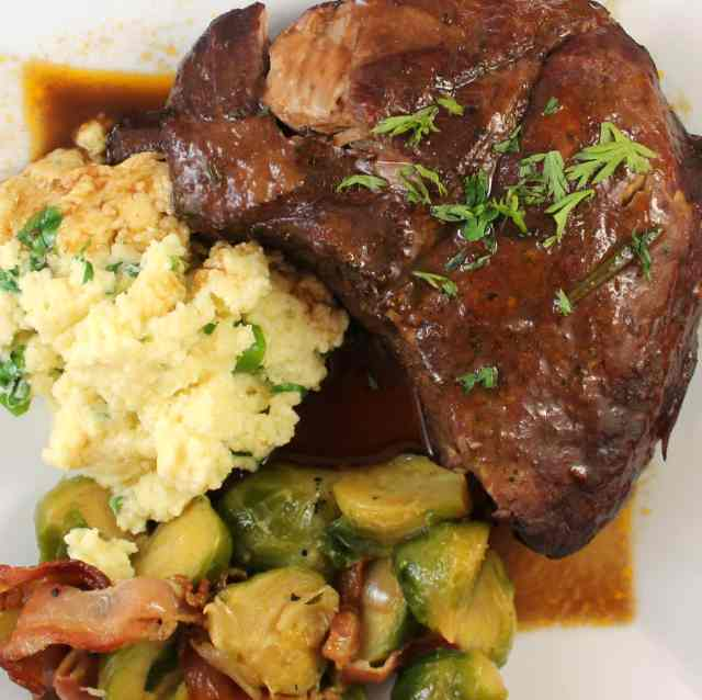 Braised Baby Back Ribs and Creamy Polenta with Brussels Sprouts and Pancetta