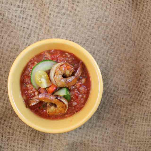 Gazpacho with Grilled Pickapeppa Shrimp