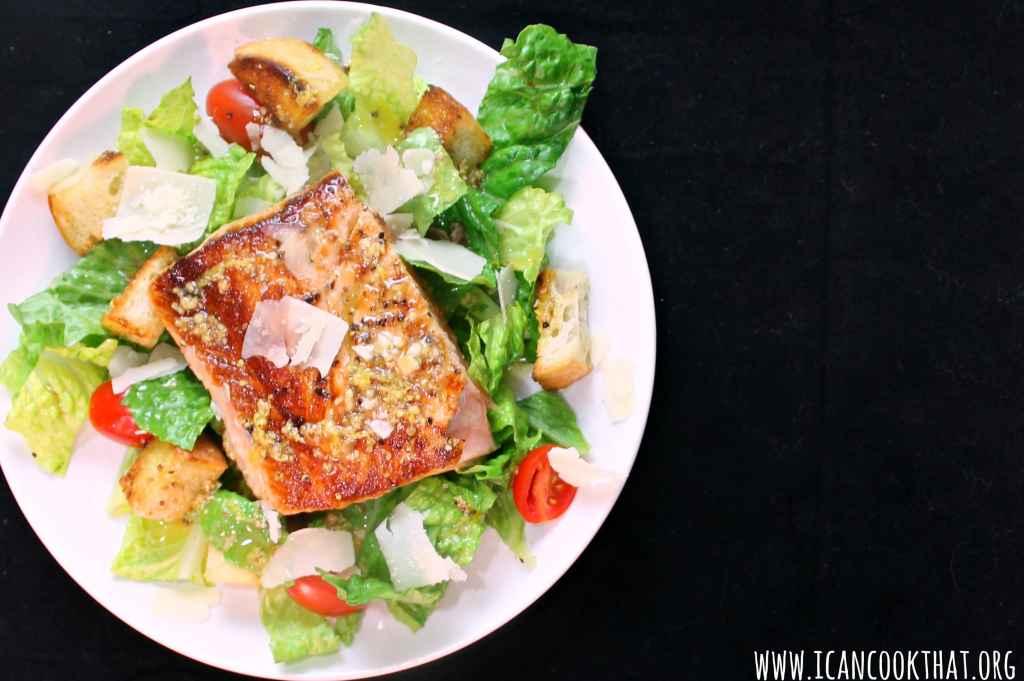 Lemon Salmon Caesar Salad