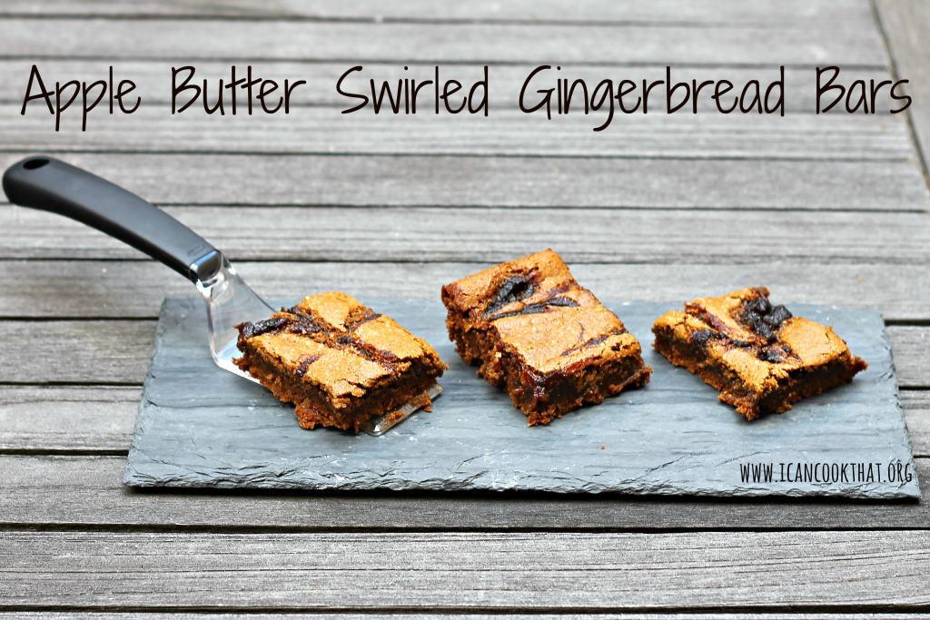 Apple Butter Swirled Gingerbread Bars