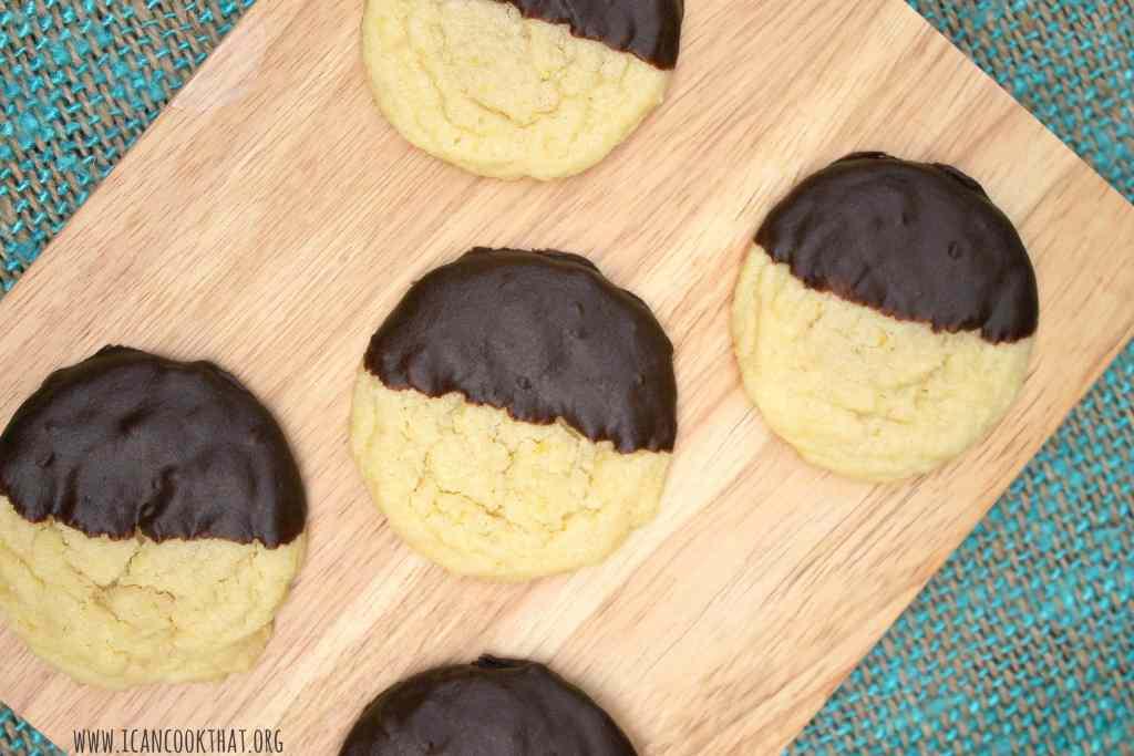 Dark Chocolate Dipped Lemon Almond Sugar Cookies Recipe | I