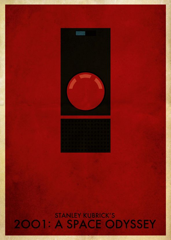1960 s movie 2001 a space odyssey hal red minimal canvas print self adhesive poster photo