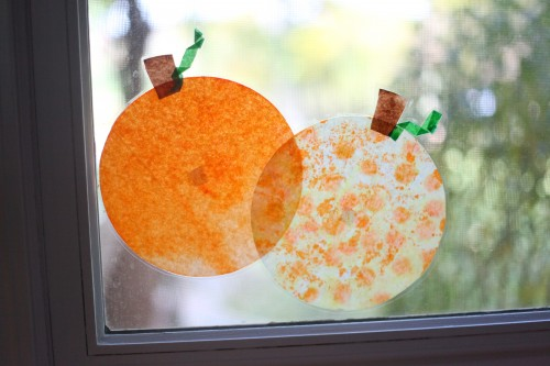 IMG 9925 500x333 Coffee Filter Stained Glass Pumpkins