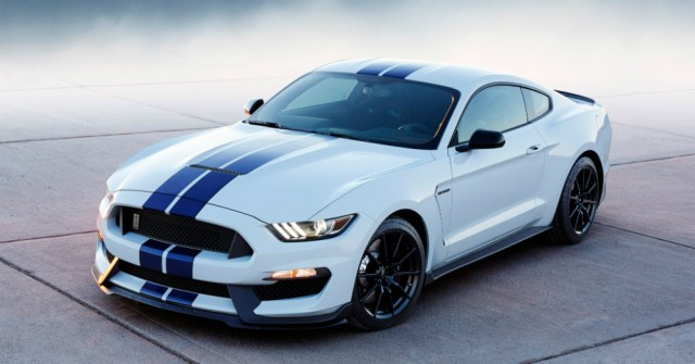 2016 White and Blue Ford Mustang