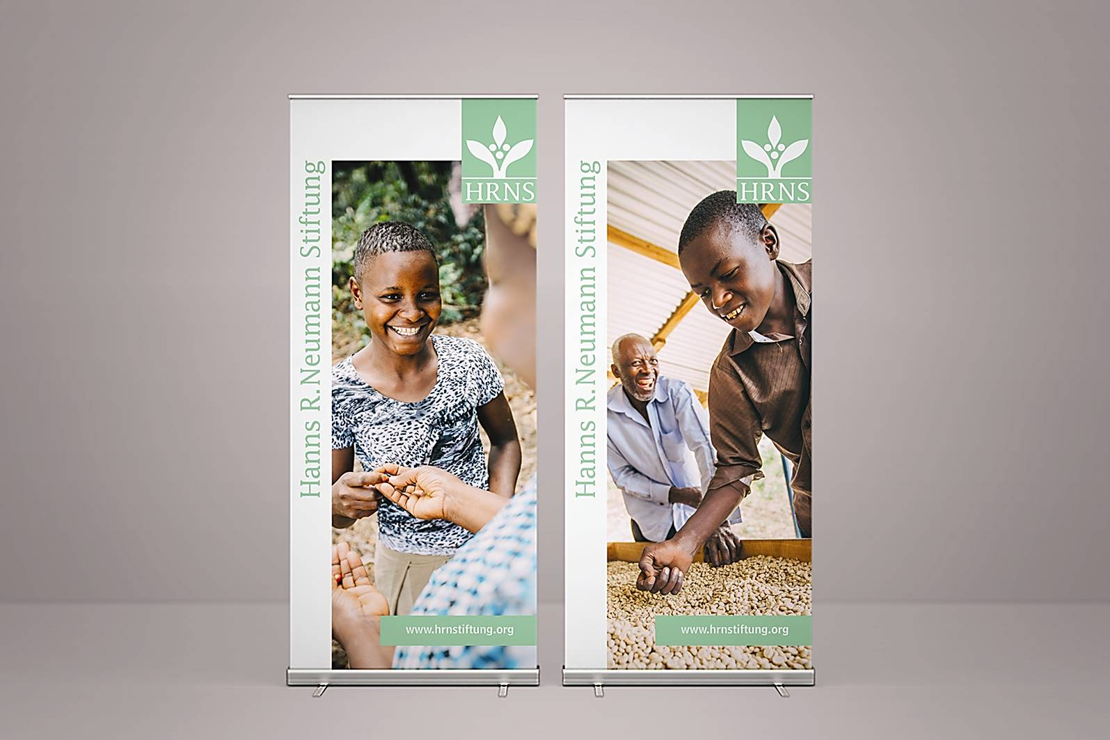 two large roll up banners