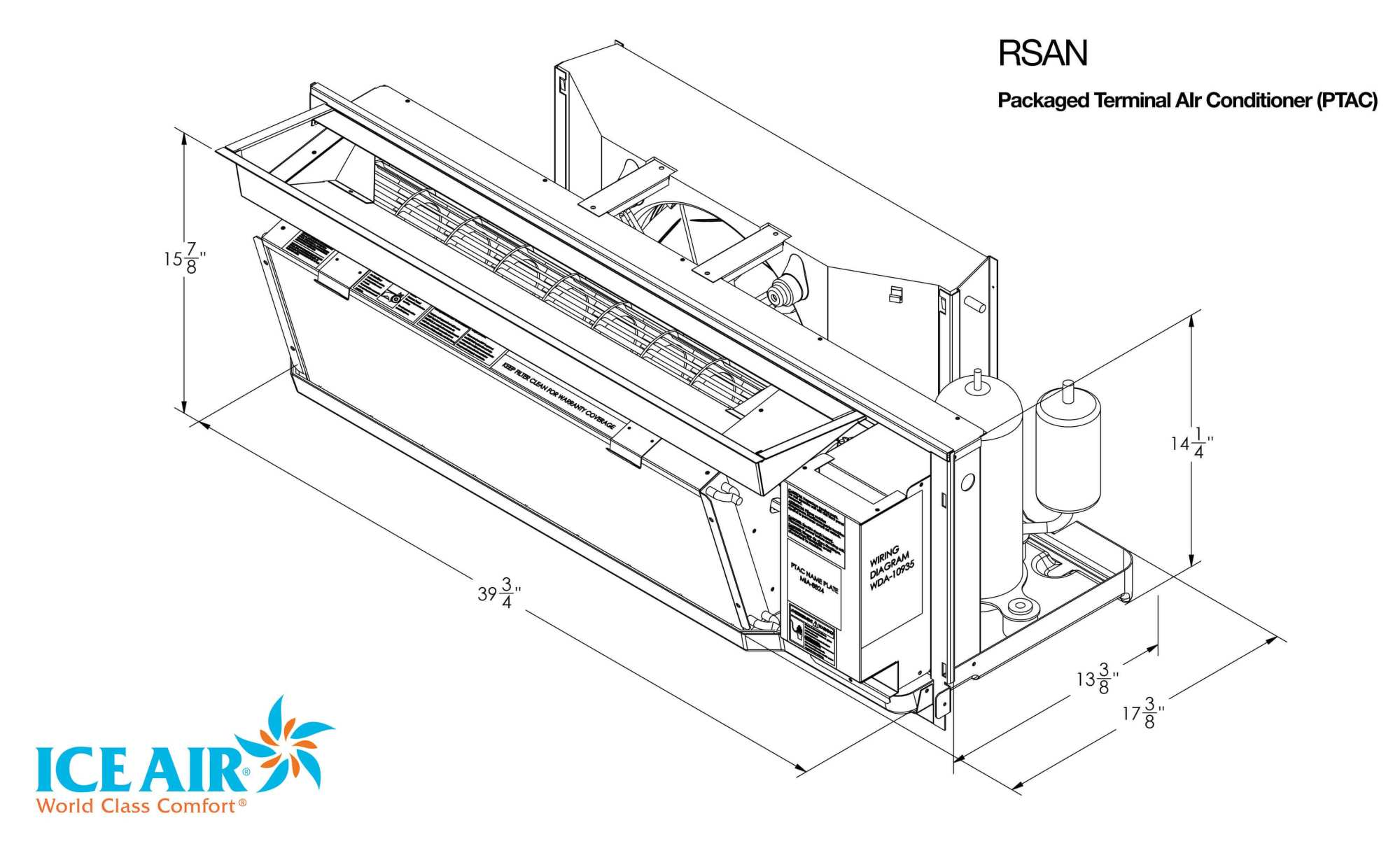 hight resolution of rsan dimensional drawing ice air limited warranty ptac replacement chart