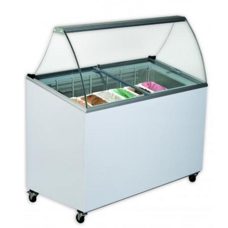 Comptoir conglateur avec 7 bacs pour conserver de la glace artisanale
