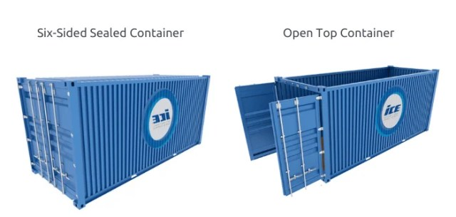 six-sided sealed container vs open top container