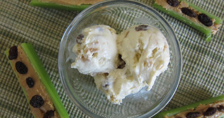 Celery Ice Cream with Rum-Plumped Raisins and Peanut Butter Swirl