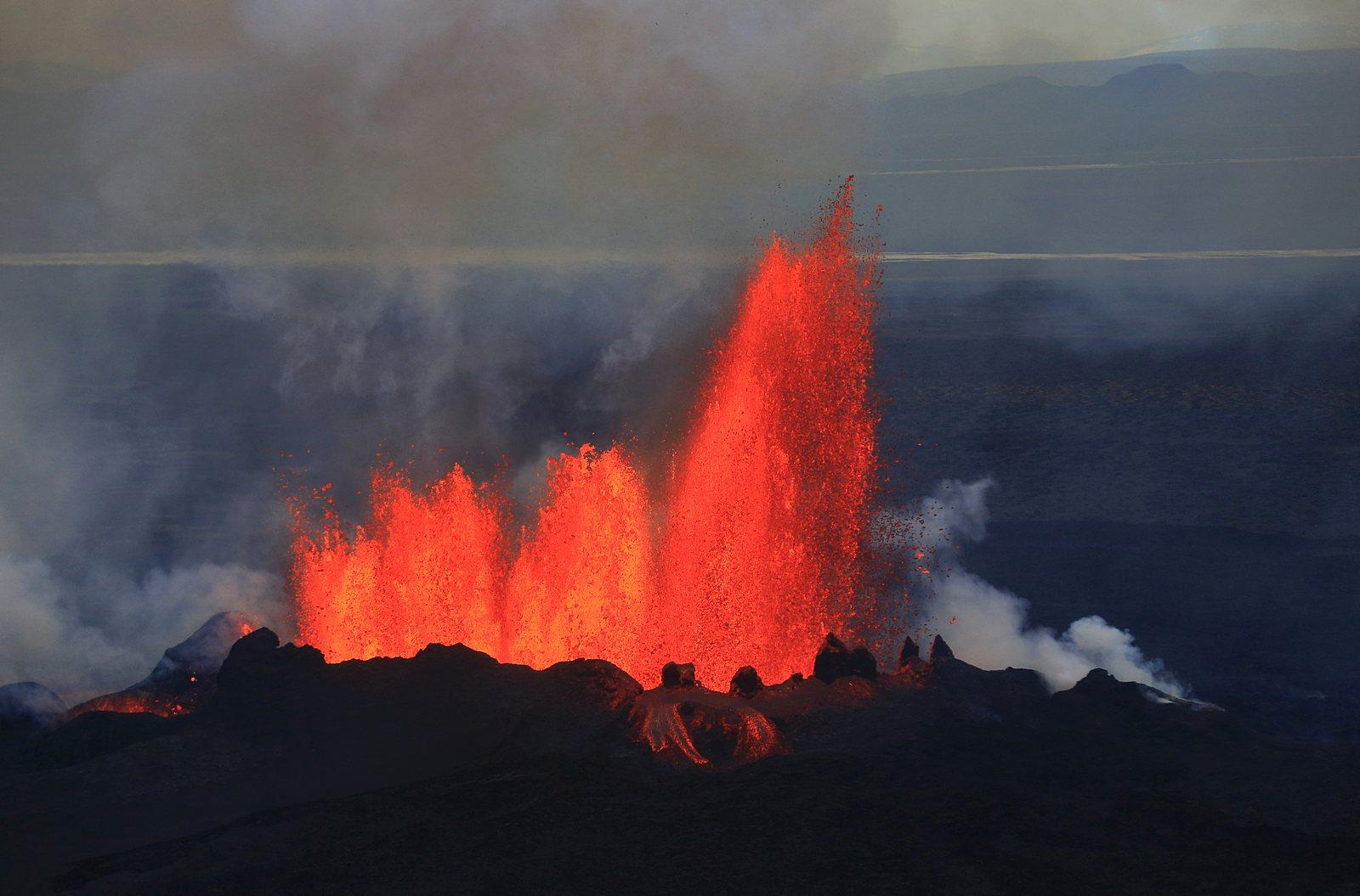 Holuhraun volcanic eruption aerial view Iceland  Iceland