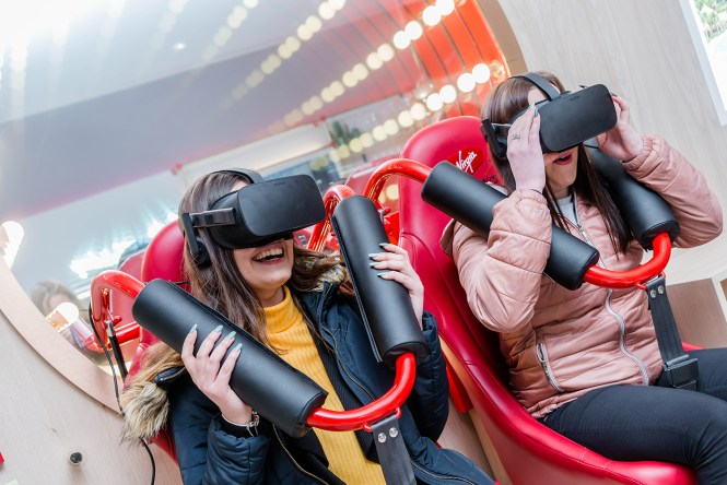First customers to try out the new VR rollercoaster