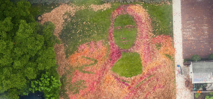 Man turns autumn leaves in to a 15m long Mona Leafa