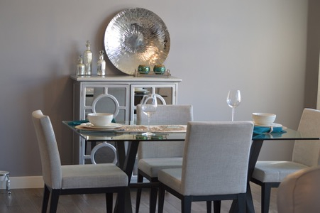 Select metallic accent pieces