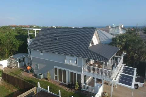 aerial view of beach house roof