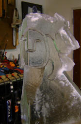 Carving a face ice sculpture 5