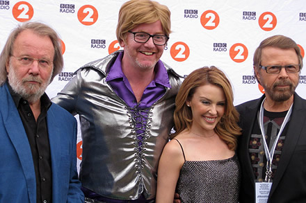 Benny and Björn with Chris Evans and Kylie Minogue