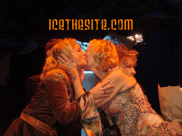 Gunilla and Agnetha share an after-show hug and kiss