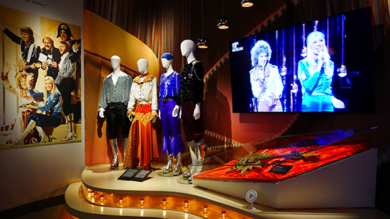 The iconic Waterloo costumes (on display at ABBA The Museum in Stockholm)