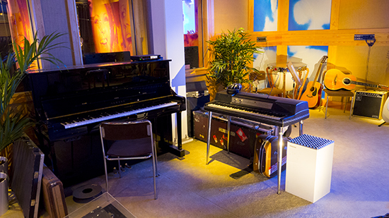 The piano in the replica Polar Studios set up at ABBA The Museum