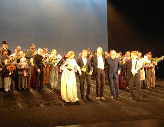 Benny, Björn and Lars on stage with the cast of 'Kristina' 25 October 2014