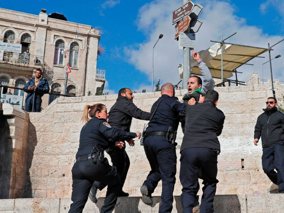 PHOTO: Israeli forces disperse Palestinian demonstrators outside of the Damascus Gate in Jerusalems Old City, Dec. 7, 2017.