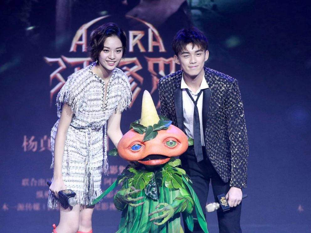 PHOTO: Actor Wu Lei and actress Zhang Yishang attend the press conference of film Asura, Jan. 16, 2018, in Beijing.