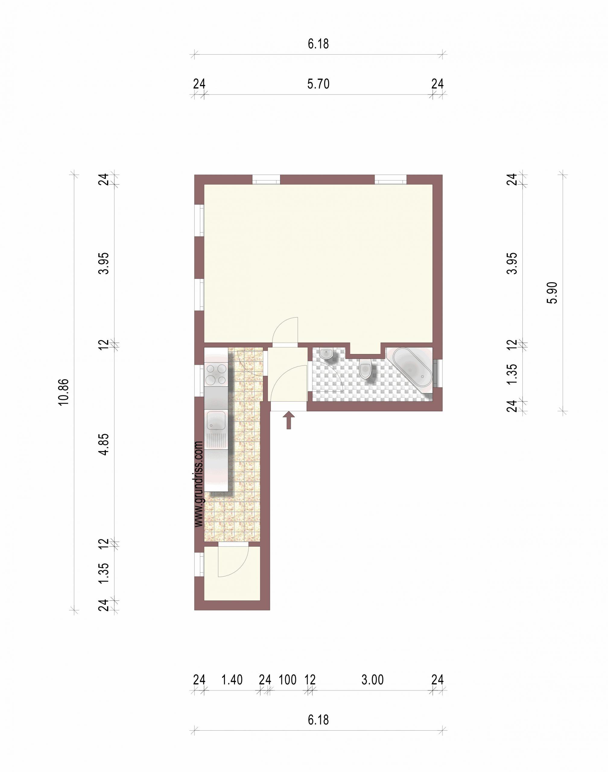 1-Raum-Mietwohnung Luckau