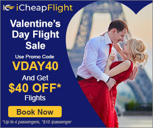 Book Cheap Flights for Valentine's Day Travel on iCheapFlight. Save up to $40 with promo code VDAY40 Valid 1/6 until 2/15