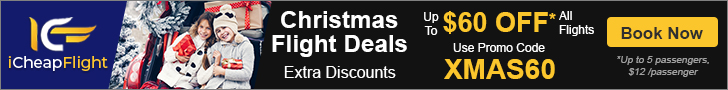 Book Cheap Flights for Christmas Travel on iCheapFlight. Save up to $60 with promo code XMAS60 Valid 11/21 until 12/26
