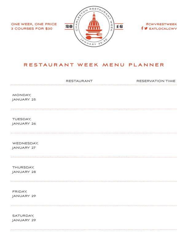 Restaurant Week Charleston West Virginia