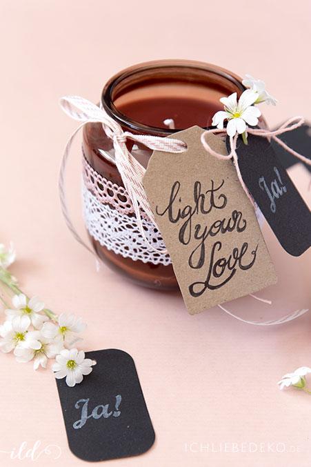 Romantische Kerze als DIY Gastgeschenk zur Hochzeit  Ich